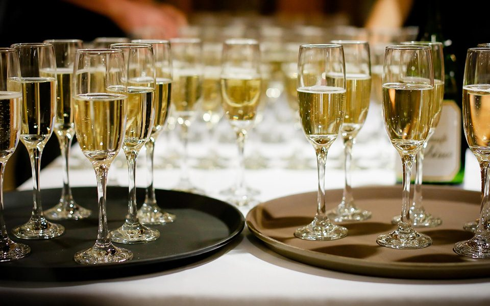 Trays of Alcoholic Champagne