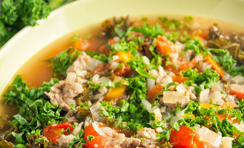 Turkey, Kale and Cauliflower Soup