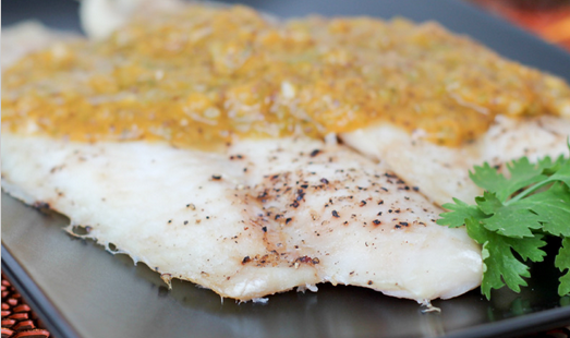 White Fish in Peach Salsa Sauce